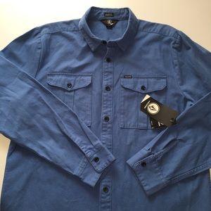 Volcom Huckster Blue Button Shirt Mens L $70 NEW